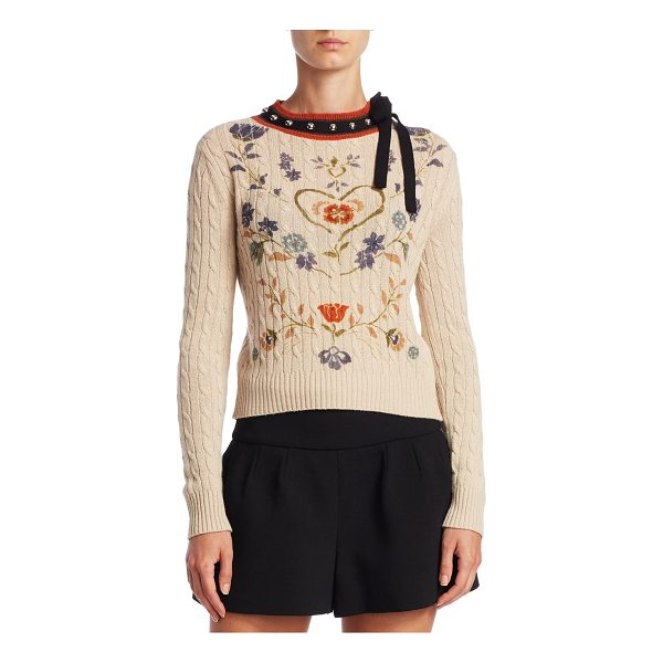 RED VALENTINO heart print cable-knit sweater - Wool-blend sweater adorned with lace ribbon and round...