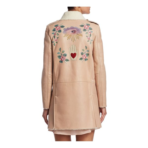 RED VALENTINO princess shearling leather coat - Shearling leather coat with embroidered design. Point...