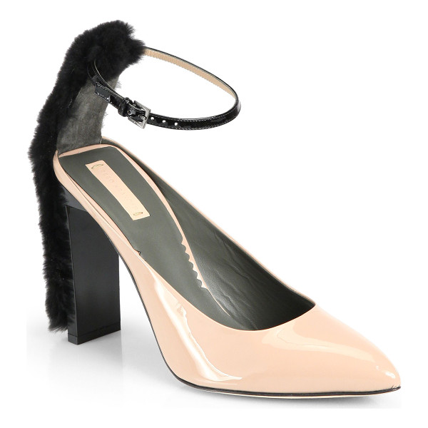 REED KRAKOFF Atlas fur & patent leather ankle-strap pumps - Chic patent leather pumps place pale against black, with a...