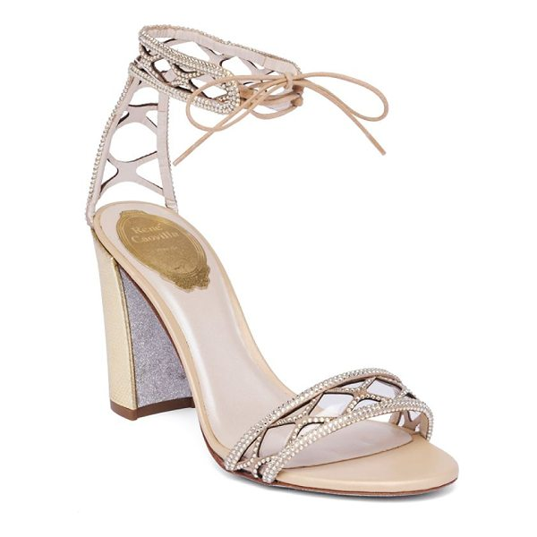 RENE CAOVILLA crystal & suede ankle-tie block heel sandals - Crystalized suede ankle-tie sandal on metallic heel....