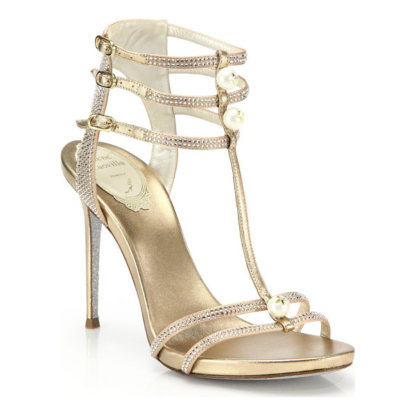 RENE CAOVILLA Faux pearl & pavé crystal strappy metallic leather sandals - Swarovski simulated pearls poise with solitaire star...
