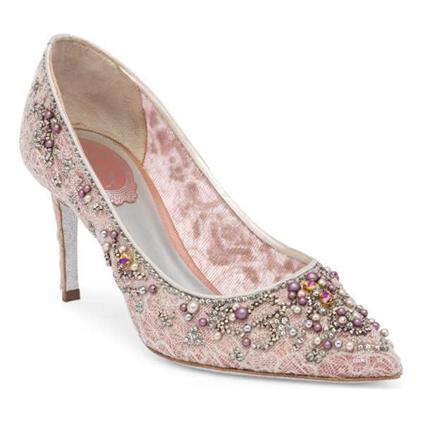 RENE CAOVILLA lace and pearl pumps - Boho-style pumps with pearl accent and lace embroidery....