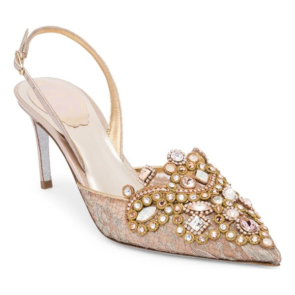 RENE CAOVILLA lace embroidered slingback pumps - Attractive embroidered pumps with dazzling crystals....