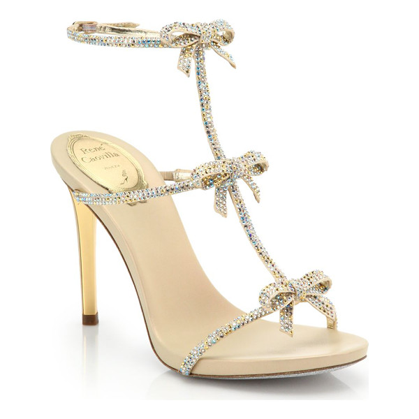 RENE CAOVILLA Strass swarovski crystal bow sandals - Swarovski crystals cover these sweet bow-detailed sandals...