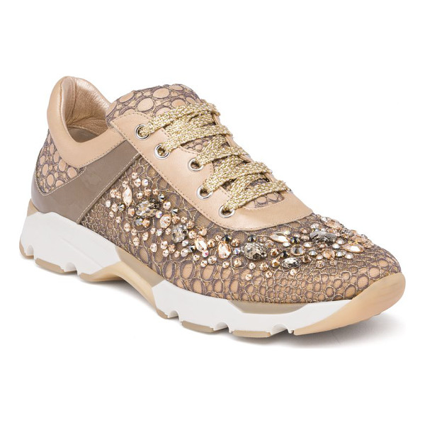 RENE CAOVILLA swarovski crystal-embellished lace sneakers - EXCLUSIVELY AT SAKS FIFTH AVENUE. Running sneaker goes glam...