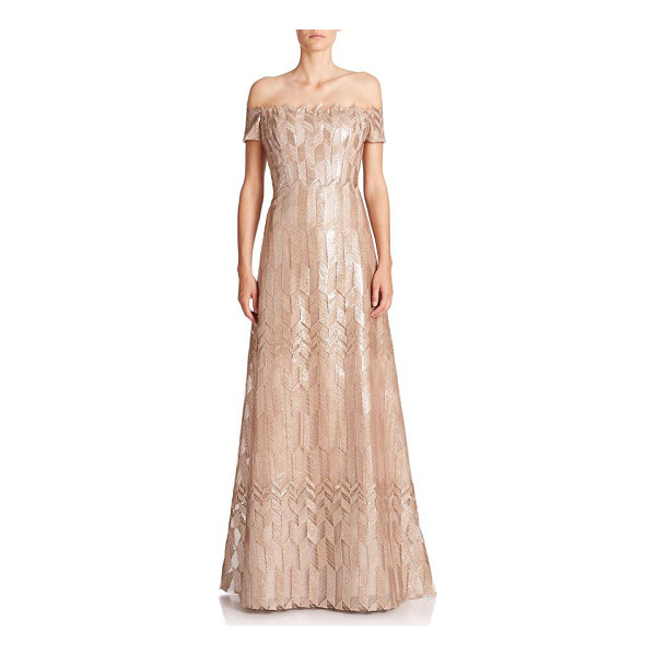RENE RUIZ art deco cap-sleeved gown - EXCLUSIVELY AT SAKS FIFTH AVENUE. Spectacular fitted bodice...
