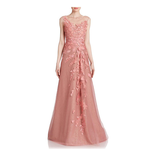 RENE RUIZ floral-applique tulle gown - Light-catching crystals spark this magnificent tulle...