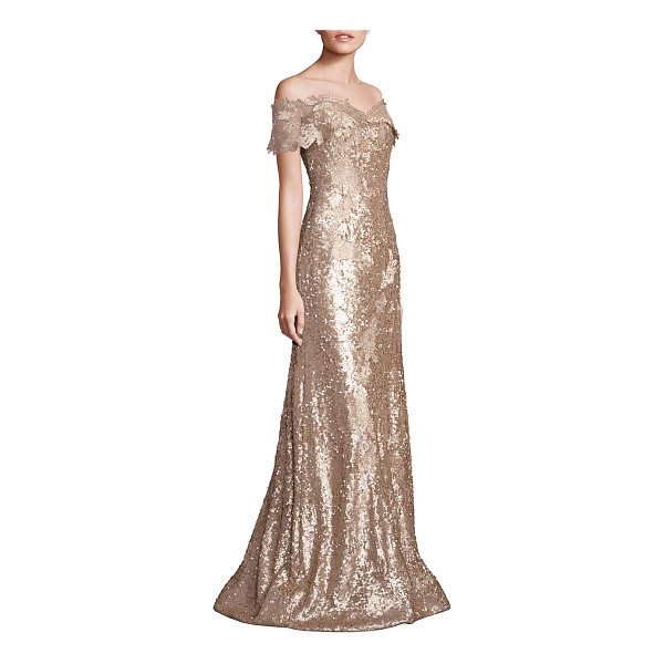RENE RUIZ off-shoulder sequin lace applique gown - Gorgeous gown adorned with glittery sequins....