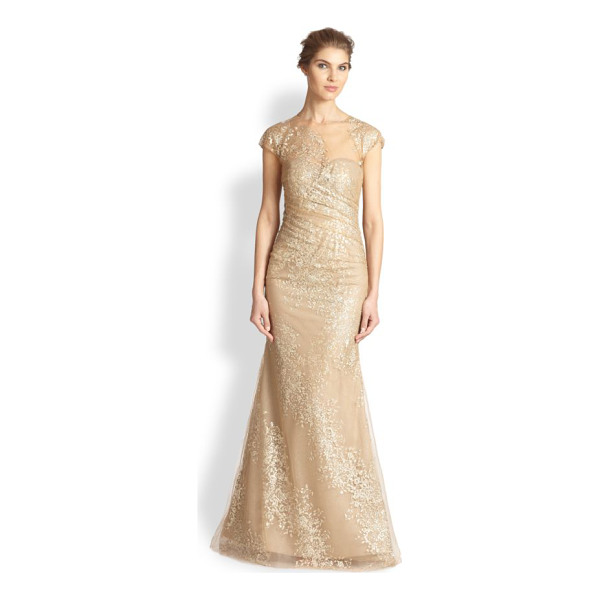 RENE RUIZ Sequined organza gown - An organza overlay adorned with shimmering sequins lends an...