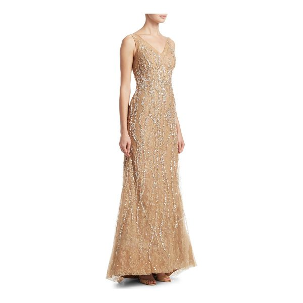 RENE RUIZ v-neck sequin gown - Elegant illusion tulle and lace gown embellished with...