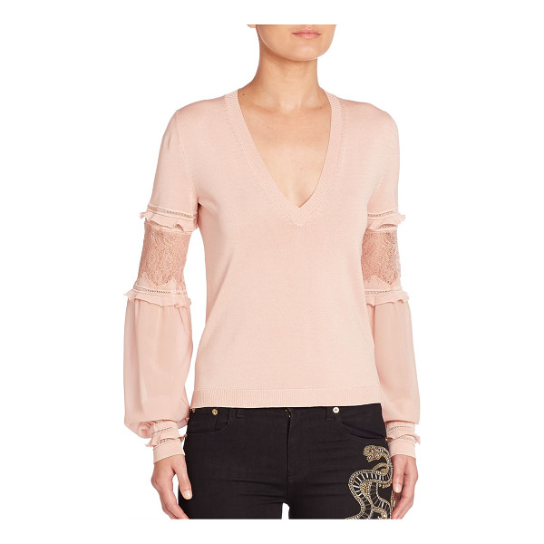 ROBERTO CAVALLI lace-inset v-neck sweater - V-neck sweater with ruffled lace-inset blouson sleeves....