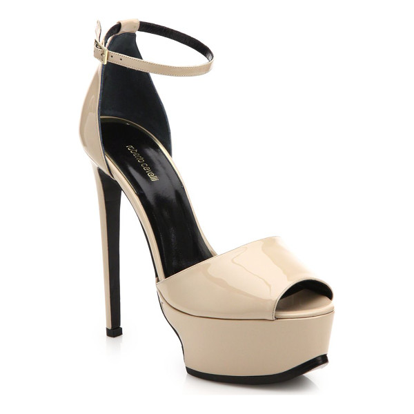 ROBERTO CAVALLI Patent leather platform sandals - A lightly sculpted platform lends steadfast structure to a...