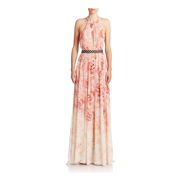 ROBERTO CAVALLI Printed halter gown - Graphic flair meets subtle allure in this printed silk...