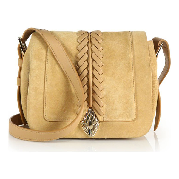 ROBERTO CAVALLI Whipstitched suede & leather crossbody bag - Supple suede crossbody with leather stitching and gleaming...