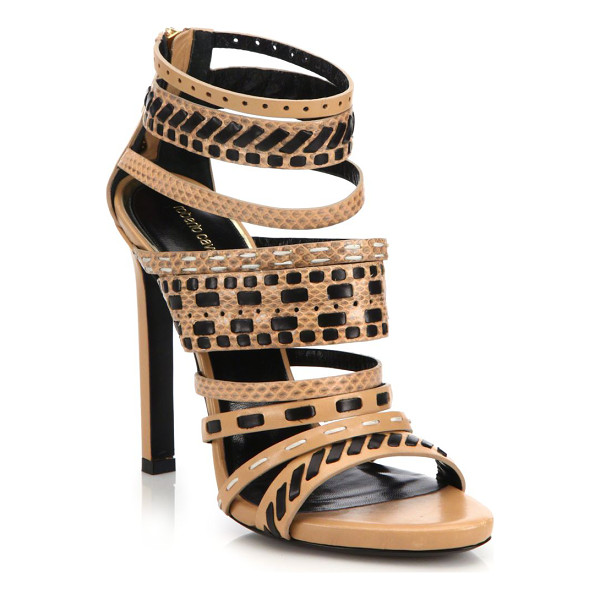 ROBERTO CAVALLI Woven leather & ayers snakeskin sandals - Woven strappy sandal in chic leather and...