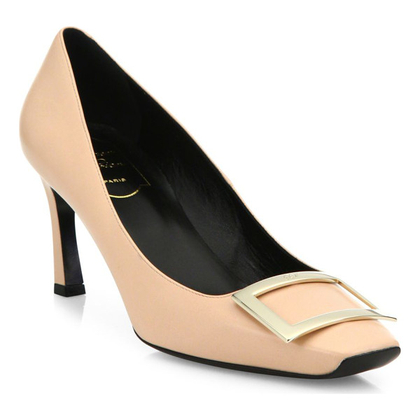 ROGER VIVIER decollete belle vivier trompette leather pumps - Polished leather pump with signature pilgrim buckle.