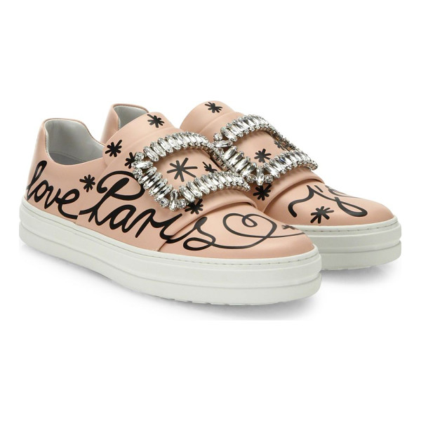 ROGER VIVIER sneaky viv love paris leather slip-on sneakers - Smooth leather sneakers boasting crystal adornments....