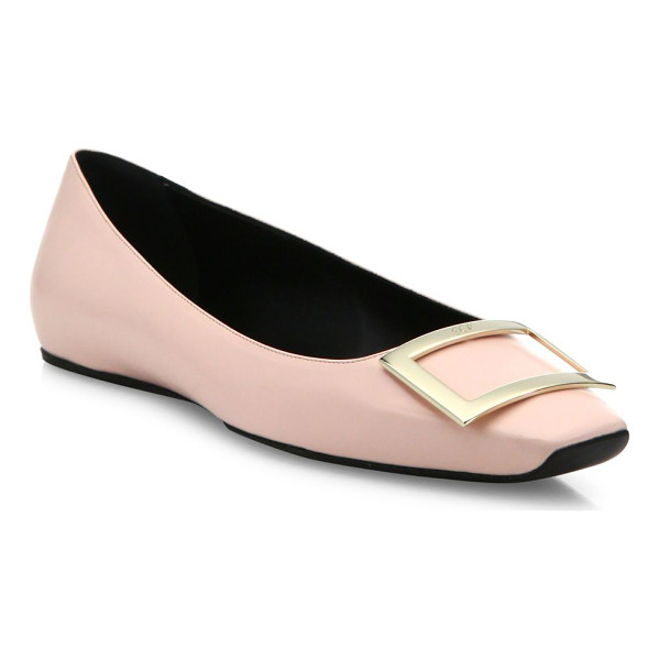 ROGER VIVIER trompette ballet leather flats - Smooth leather flat with signature pilgrim buckle. Leather