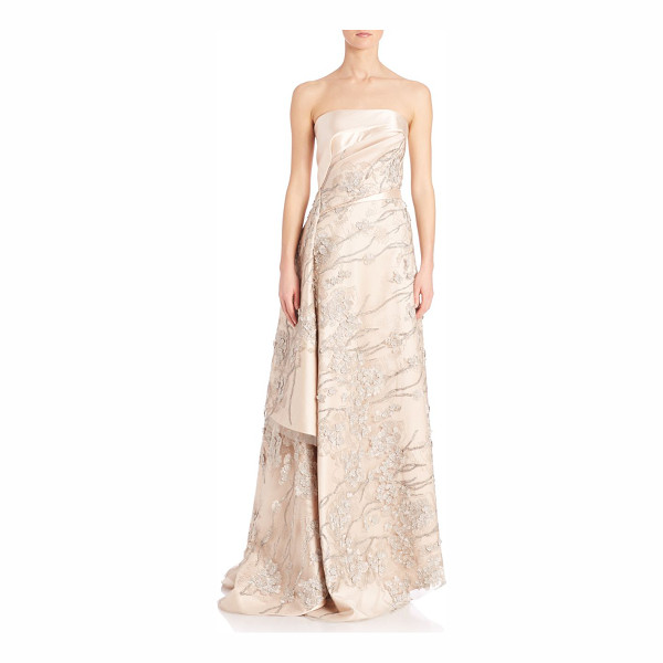 RUBIN SINGER Applique embellished silk & wool a-line gown - Asymmetrical draped lace overlay on embellished gown....