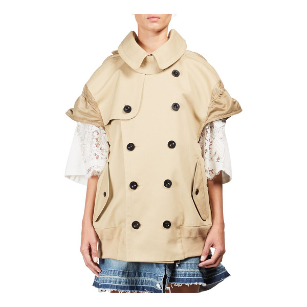 SACAI cap sleeve trench vest - Double-breasted trench vest with cap sleeves. Foldover...