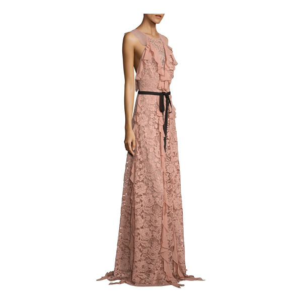 SACHIN & BABI melody ruffled lace gown - Cascading ruffles elevate lace open-back gown. Roundneck....