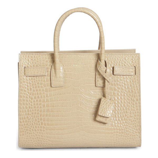 SAINT LAURENT baby sac de jour croc-embossed leather tote - Luxe croc-embossed leather refines classic style. Double...