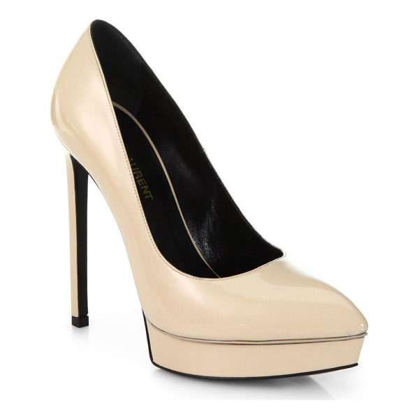 SAINT LAURENT Janis patent leather platform pumps - In keeping with the fine tailoring of Yves Saint Laurent,...