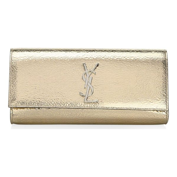 SAINT LAURENT kate leather clutch - Leather clutch with designer logo accent. Flap with snap...