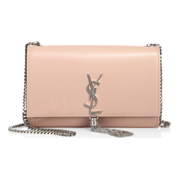 SAINT LAURENT medium kate smooth leather tassel chain shoulder bag - Classic smooth leather shoulder bag with chain tassel....