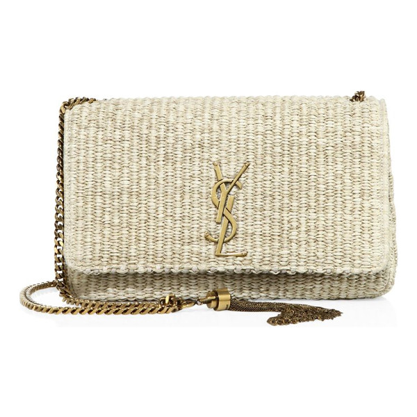 SAINT LAURENT medium kate monogram woven chain shoulder bag - Earthy raffia shoulder bag with polished logo and strap....