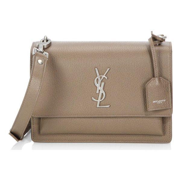 SAINT LAURENT medium sunset monogram leather satchel - Expertly crafted bag rendered in a textured finish....