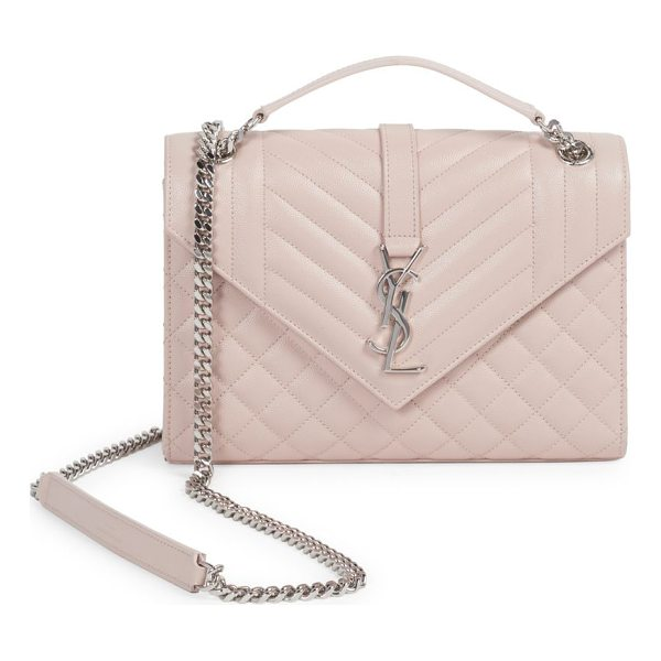 SAINT LAURENT medium tri-quilt leather envelope bag - Classic leather bag finished with matelasse stitching. Top...