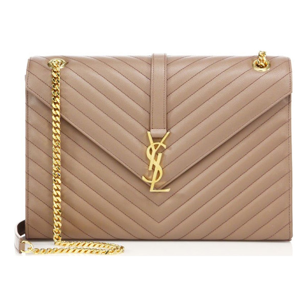 SAINT LAURENT large monogram matelasse leather chain shoulder bag - Gracefully patterned chevron stitching creates the...