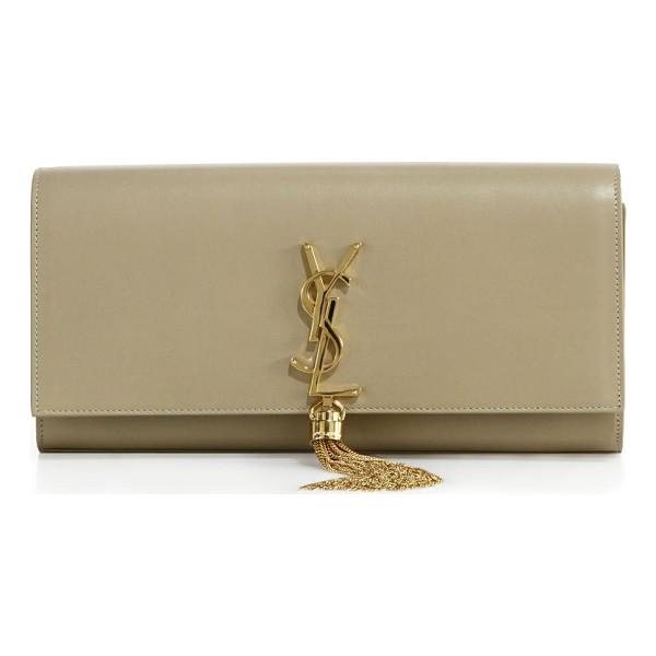 SAINT LAURENT Monogram leather tassel clutch - Impeccably crafted design of smooth leather features iconic...