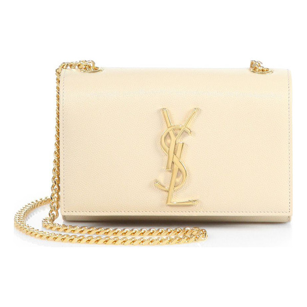 SAINT LAURENT monogram small leather chain bag - A petite monogram shoulder bag with a bold chain