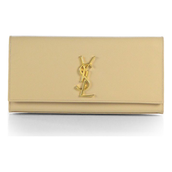 SAINT LAURENT kate monogram leather clutch - Luxurious textured leather accented with goldtone logo...