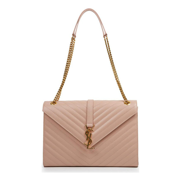 SAINT LAURENT monogram large grained chain bag - Gracefully patterned chevron stitching creates the...
