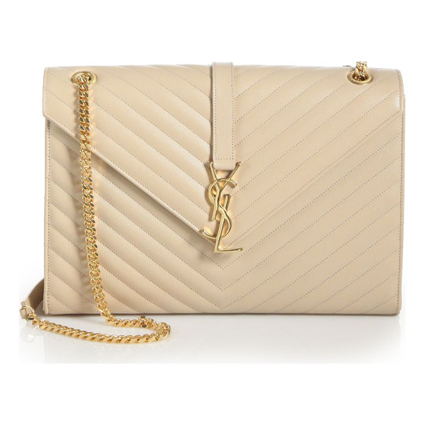 SAINT LAURENT large monogram matelasse leather chain shoulder bag - Gracefully patterned chevron stitching creates the
