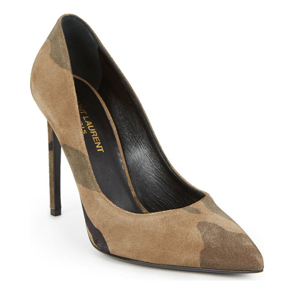 SAINT LAURENT Paris skinny camouflage suede pumps - Classic pump silhouette in muted camouflage...