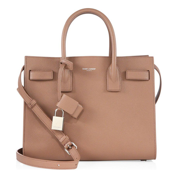 SAINT LAURENT baby sac de jour leather caryall bag - Elegant top handle bag with signature lock accents. Double