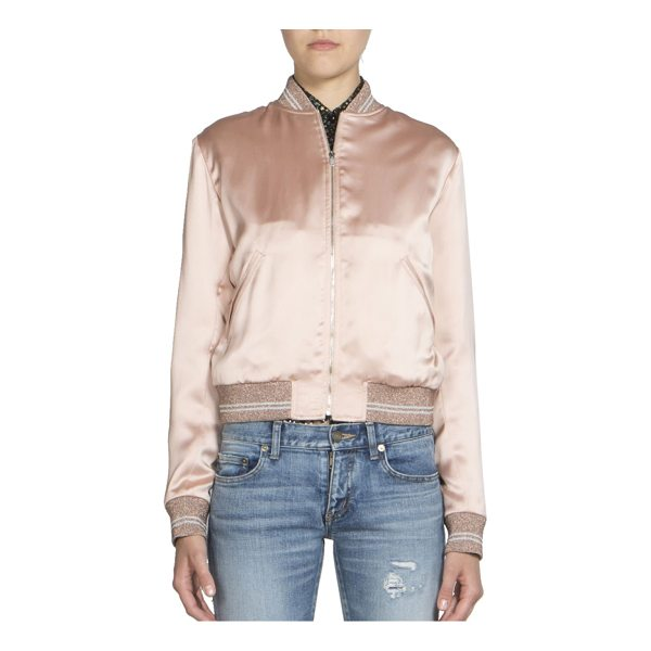 SAINT LAURENT satin teddy bomber jacket - Sporty satin bomber jacket with sequin love patch. Stand...