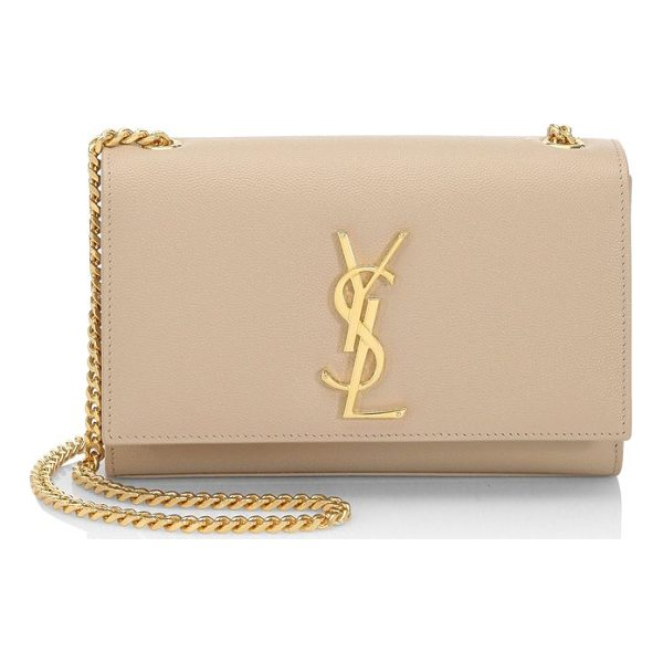 SAINT LAURENT small kate monogram leather chain shoulder bag - Iconic chain style in pebble leather with polished YSL....