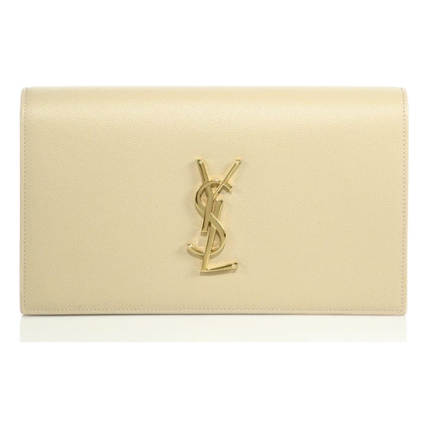 SAINT LAURENT small textured leather monogram clutch - Signature logo polishes textured leather clutch. Magnetic