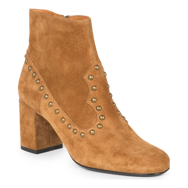 SAINT LAURENT Studded suede ankle boots - Shiny metal studs punctuate this suede design, crafted with...