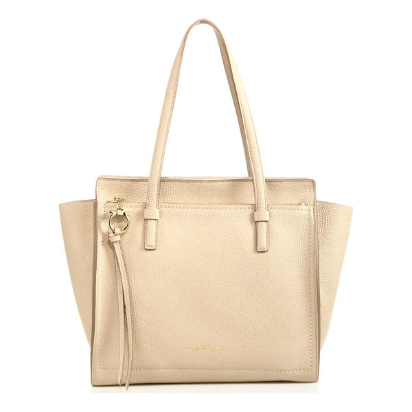 SALVATORE FERRAGAMO amy medium convertible leather tote - Pebbled leather tote with wings that can be tucked inward