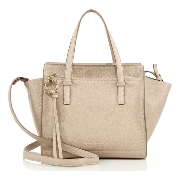 SALVATORE FERRAGAMO amy mini soft leather tote - Miniature tote crafted of rich pebbled leather. Double top