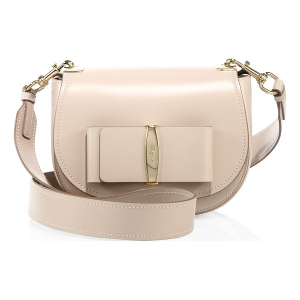 SALVATORE FERRAGAMO anna leather saddle bag - Polished, smooth leather saddle bag with large flat bow.
