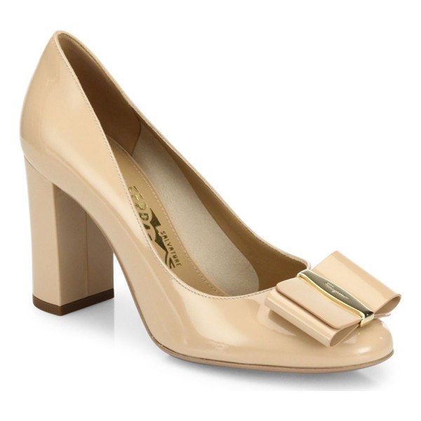 SALVATORE FERRAGAMO elinda leather bow pumps - Bow ornamentation uplifts these leather pumps. Self-covered...