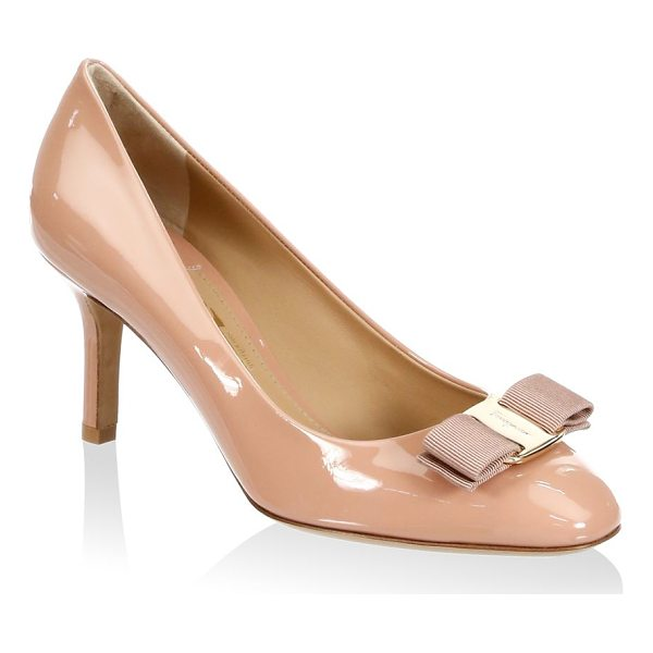 """SALVATORE FERRAGAMO erice leather pumps - Leather pumps with grosgrain bow. Self-covered heel, 3""""..."""