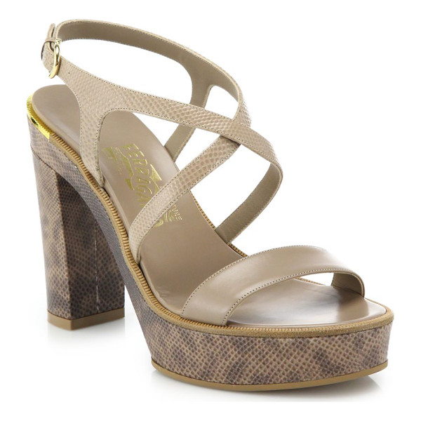 SALVATORE FERRAGAMO gina python-embossed leather platform sandals - Strappy silhouette of python-embossed leather....